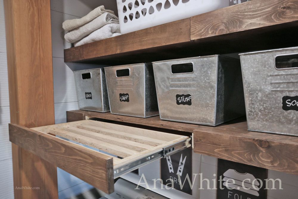 Photo of Floating Shelves Pull Out Drying Racks and Hanging Rods | Ana White
