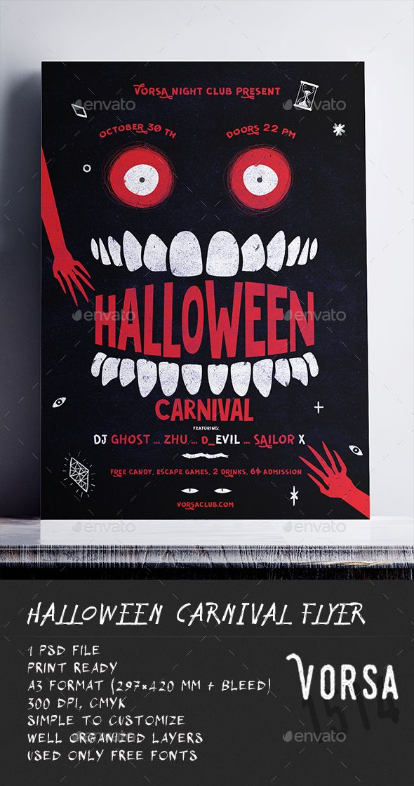 halloween carnival poster clubs parties events event flyer