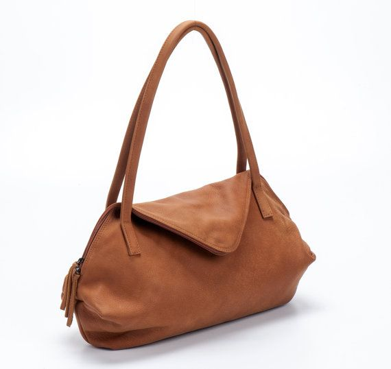 Camel Brown Leather Tote Bag / Soft Leather Bag / by EfikaBags