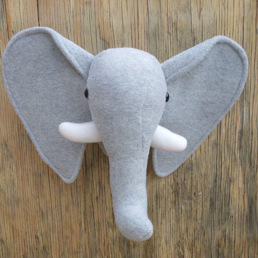 Plush Stuffed Wall Mount Elephant Head-Faux Taxidermy by CharlottesBliss on Etsy