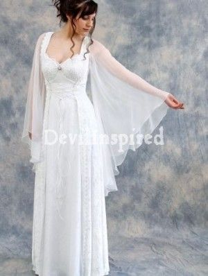 White Lace Medieval Long Sleeves Wedding Dress I LOVE THIS These