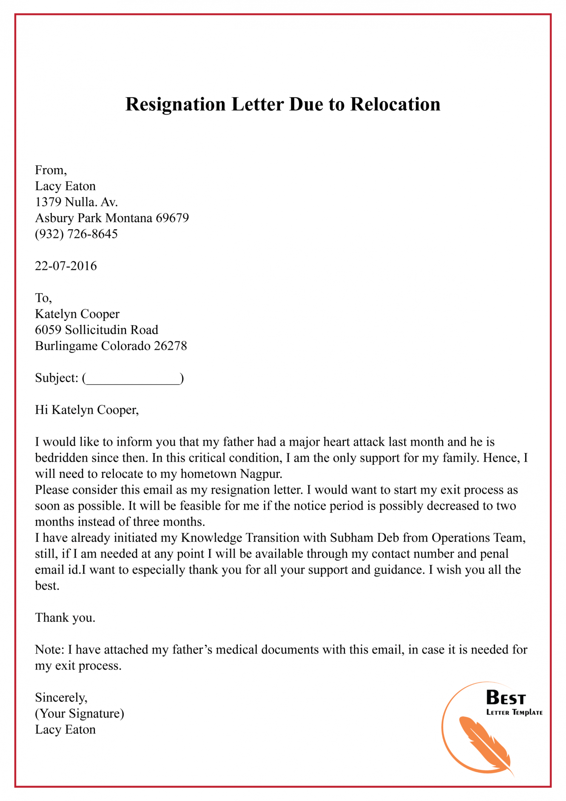 Explore Our Image Of Resignation Letter Moving Out Of