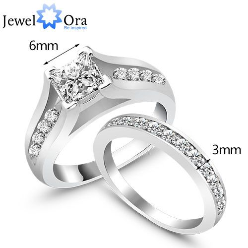 2 Pcs Set Best Gift Rhodium Plated Rings For Womens Jewelora