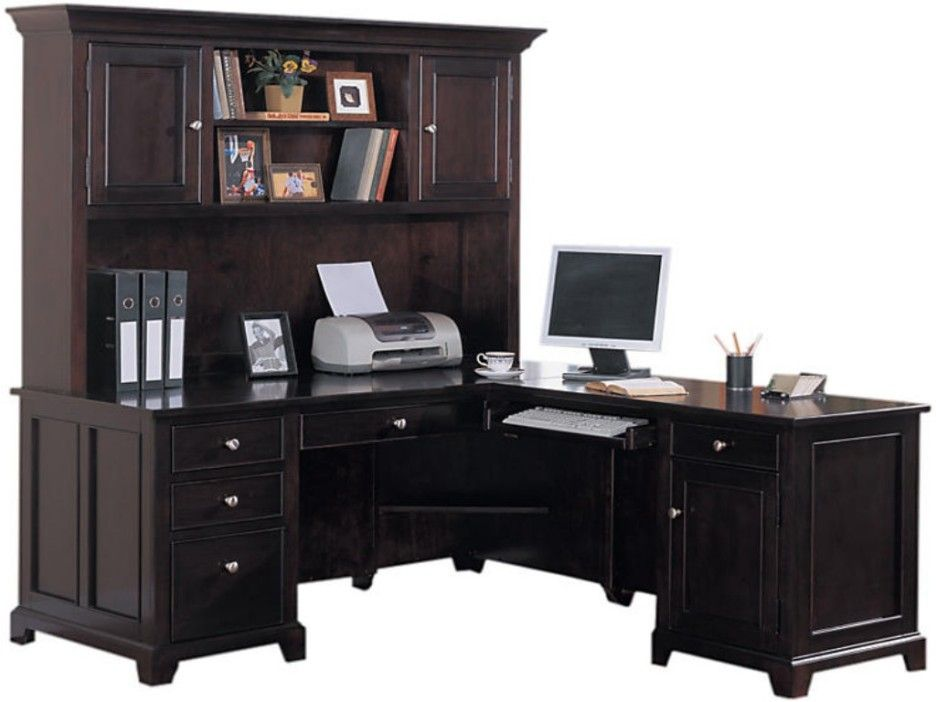 Office Depot L Shaped Desk With Hutch Nothing Adds To The Look And Feel Of An Over A Black