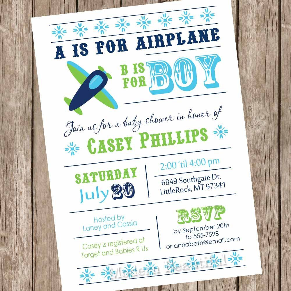 Airplane baby shower invitation, aviation baby shower, aviation ...