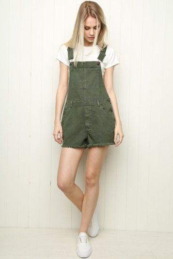 ba04cb2b Esmeralda Army Green Overall Shorts Jean Overalls, Overalls Outfit, Green  Shorts Outfit, Cute