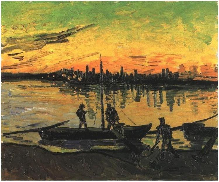 Vincent van Gogh: Coal Barges. Oil on Canvas. Arles, France: August, 1888  Museo Thyssen-Bornemisza  Madrid, Spain.