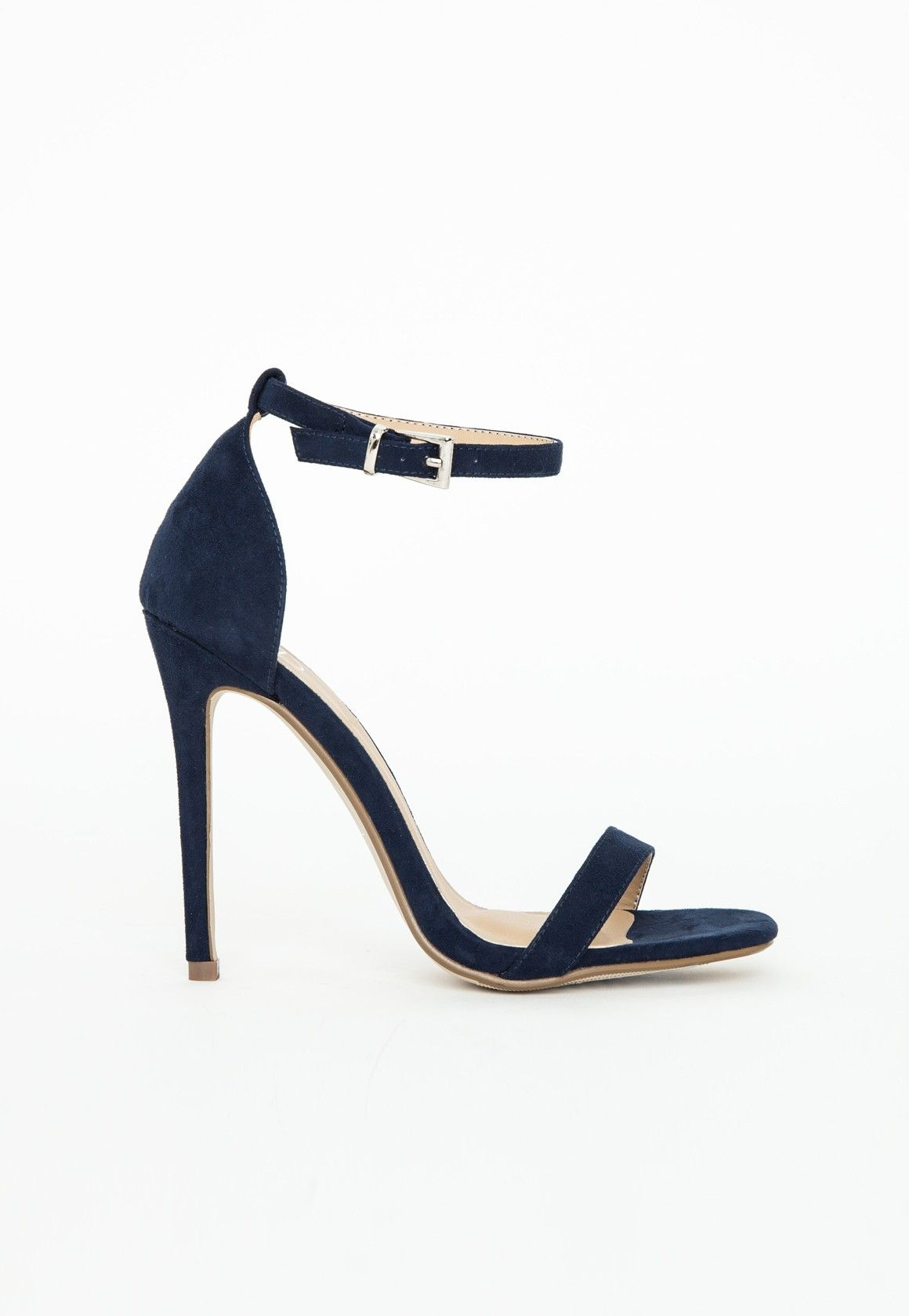 Barely There Heeled Sandals Navy Faux Suede - Shoes - High Heels ...