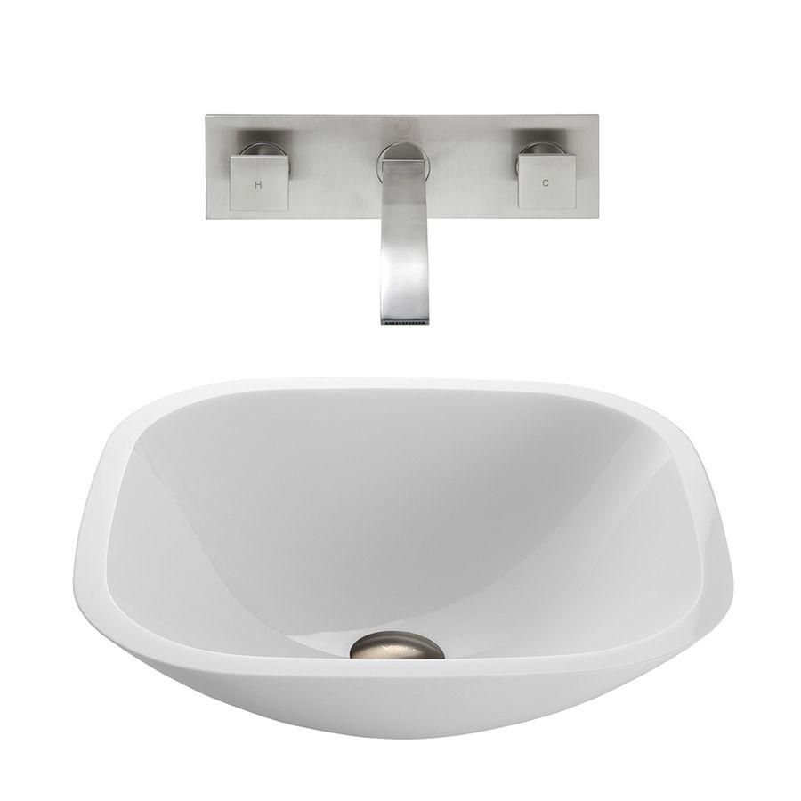 Vigo Vessel Bathroom Sets White Glass Vessel Square Bathroom Sink ...