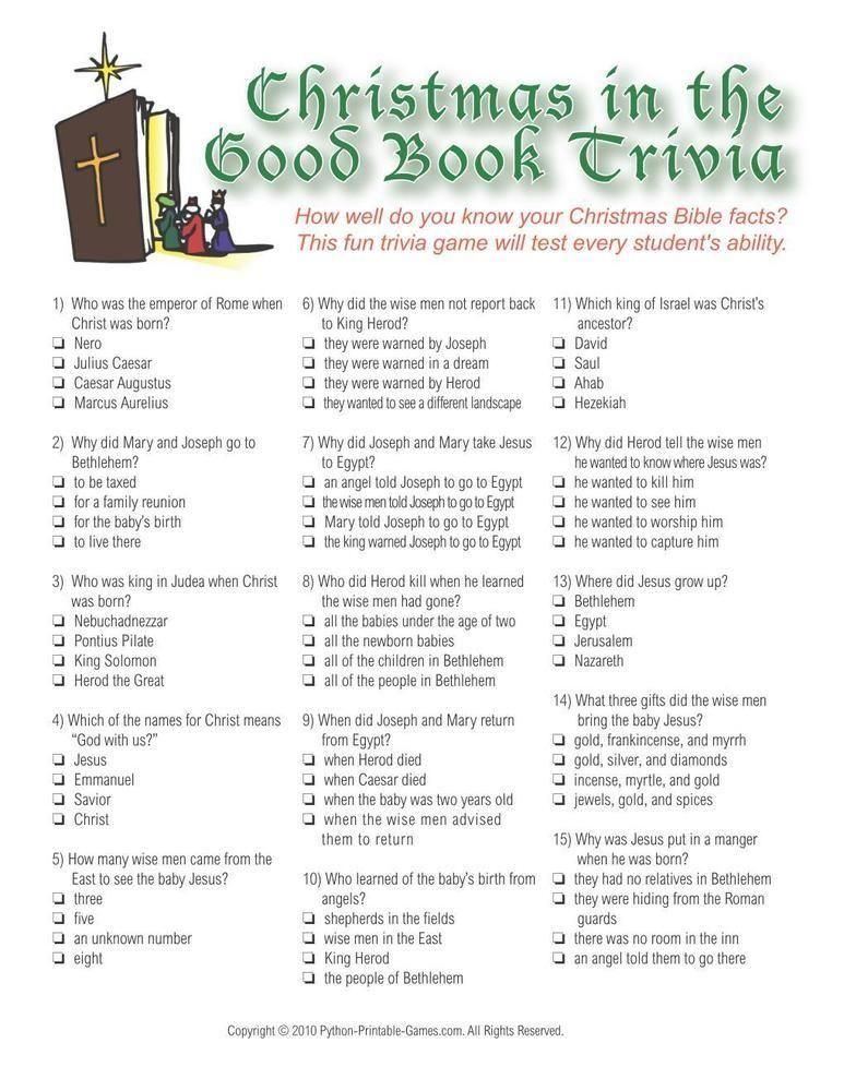 Christmas Christmas Bible Trivia Game Christmas trivia