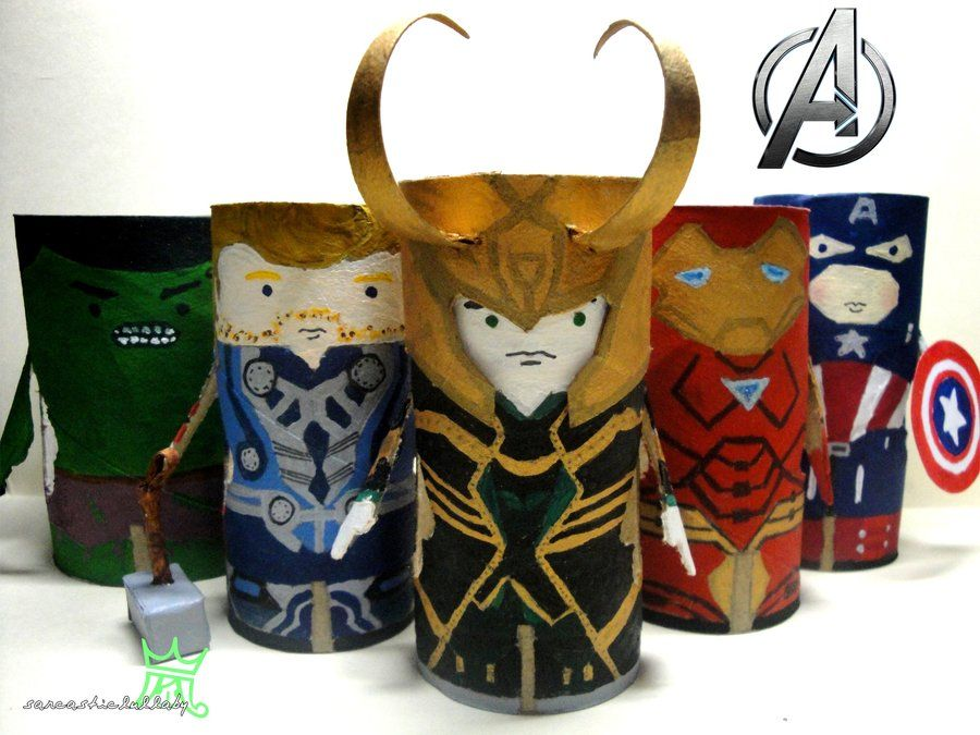 The avengers tissue roll by sarcasticlullaby craft for Toilet roll puppets