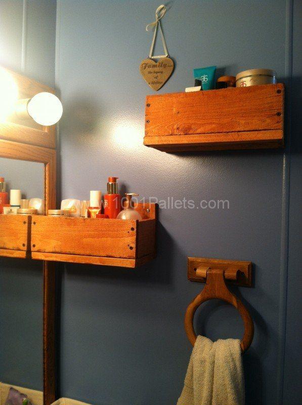 Bathroom Pallet Shelves \u2022 Pallet Ideas Étagères, Salle de bains et