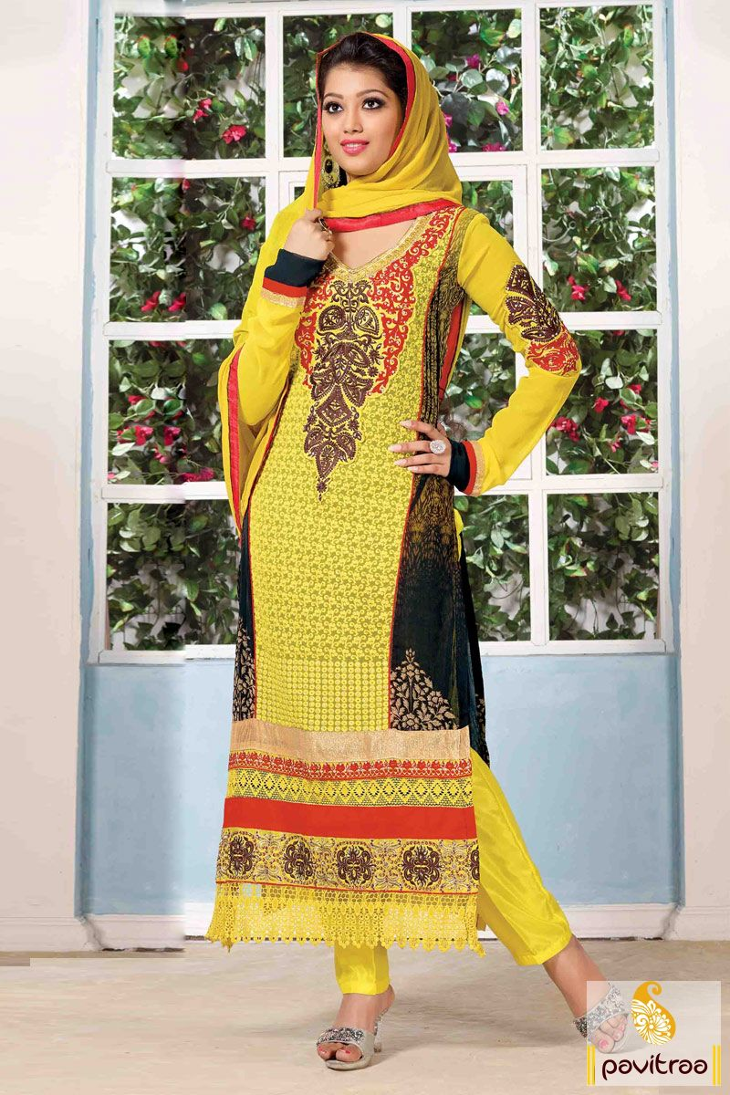Black and yellow santoon embroidery party wear salwar suit