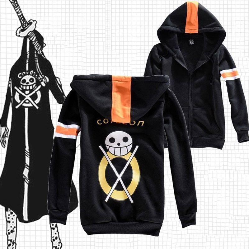 New anime one piece trafalgar law black jacket hooded