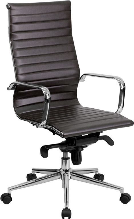 Swivel Chair Office Warehouse Chairs Under £100 High Back Brown Ribbed Upholstered Executive Contemporary Furniture