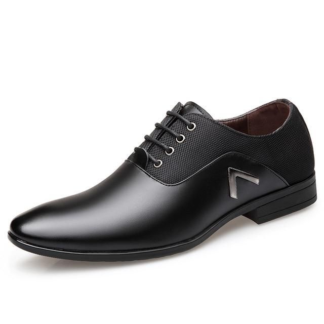 OSCO Men Dress Shoes Men Formal Shoes Leather Luxury Fashion Wedding Shoes Men Business Casual Oxford Shoes is part of Dress shoes men - Autumn Upper Material Split Leather Fit Fits true to size, take your normal size Toe Shape Pointed Toe Lining Material PU Shoes Type Derby Shoes Model Number 6668 Pattern Type Solid