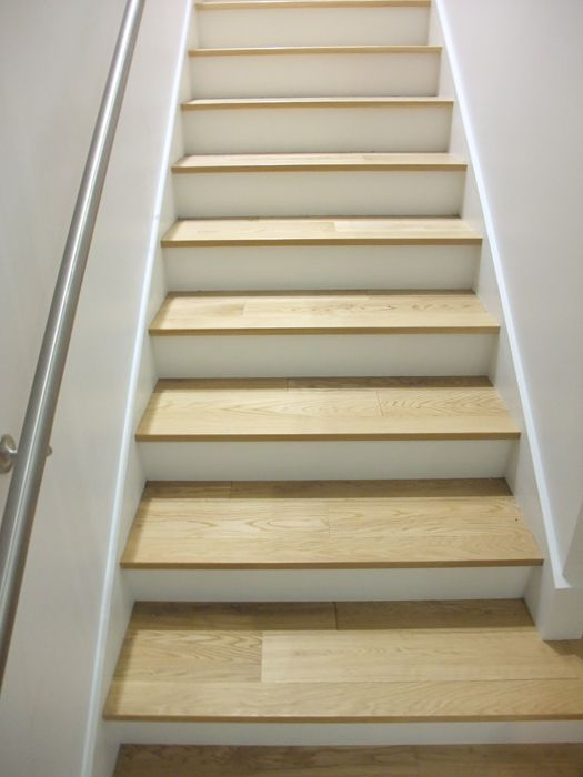 White Oak On Stairs With Painted Risers Stair Decor Hardwood   White Oak Stair Risers   Stair Nosing   Handrail   Staircase Makeover   Stair Railing   Paint