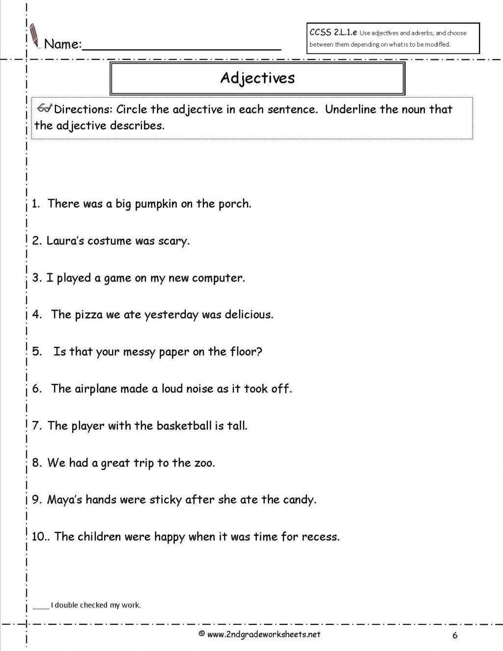Free Printable Adjective Worksheets Worksheet Ideas Free