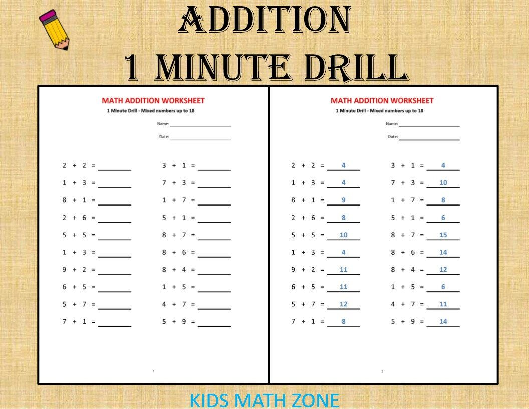 Addition 1 Minute Drill H With Answers 10 Math Sheets Pdf Year