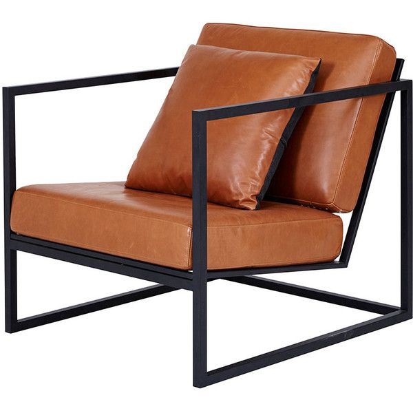 Modern Designer Stanley Armchair Black Metal Frame Leather
