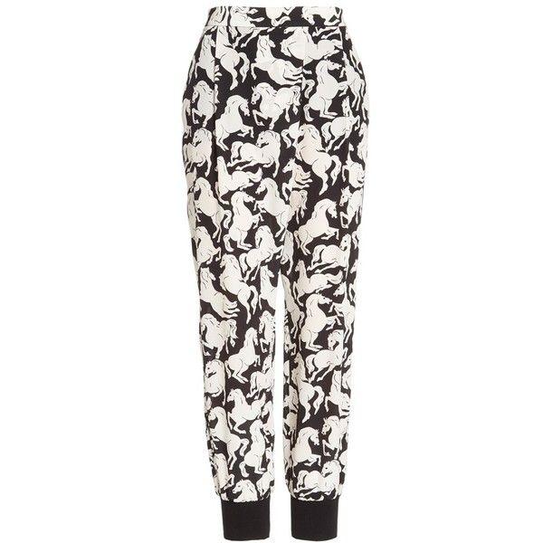 Stella McCartney 'Joey' Horse Print Silk Pants ($775) ❤ liked on Polyvore featuring pants, drapey pants, stella mccartney, white trousers, silk pants and horse pants