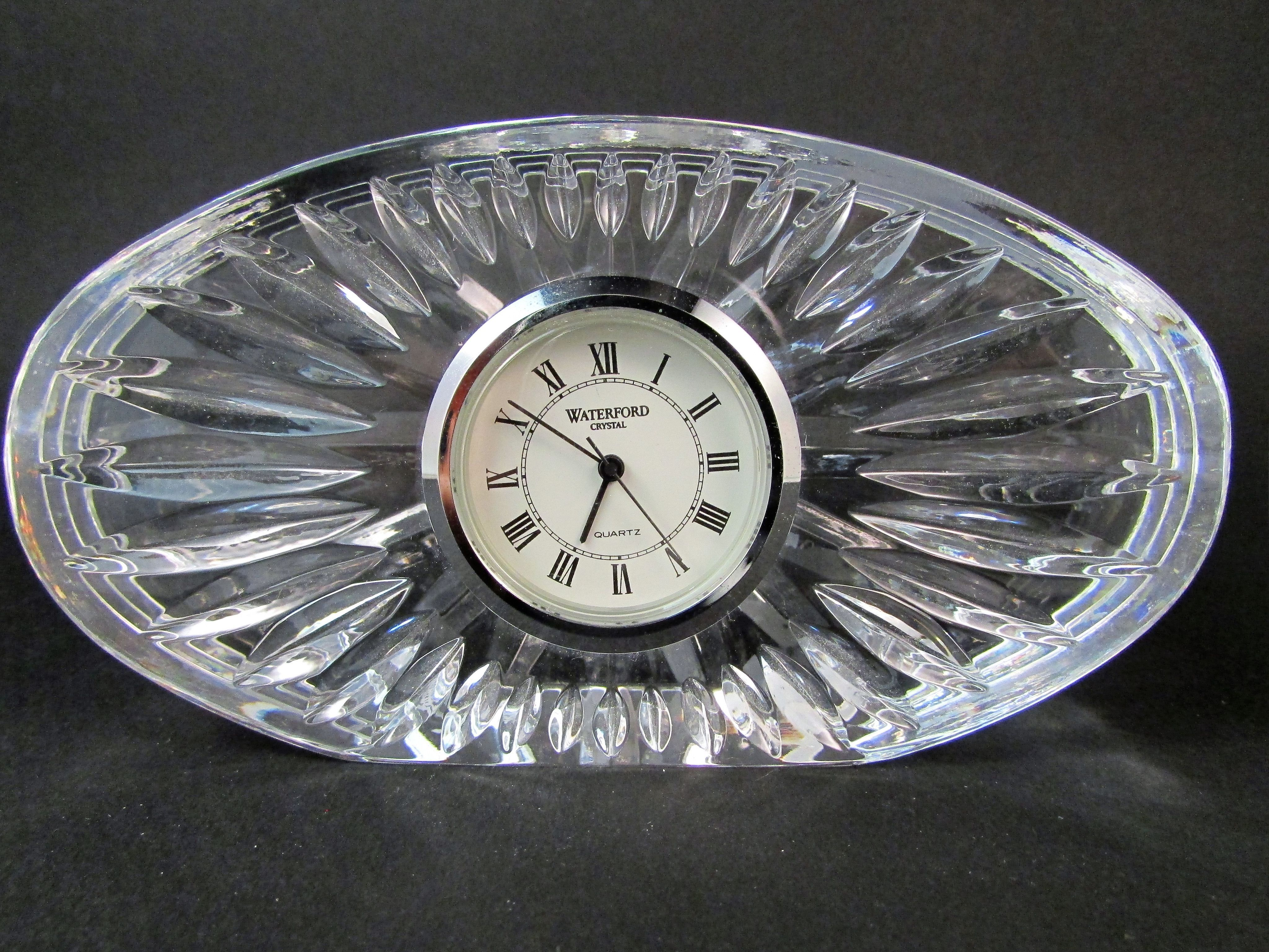 Waterford Crystal Desk Clock Oval Shape Quartz Movement