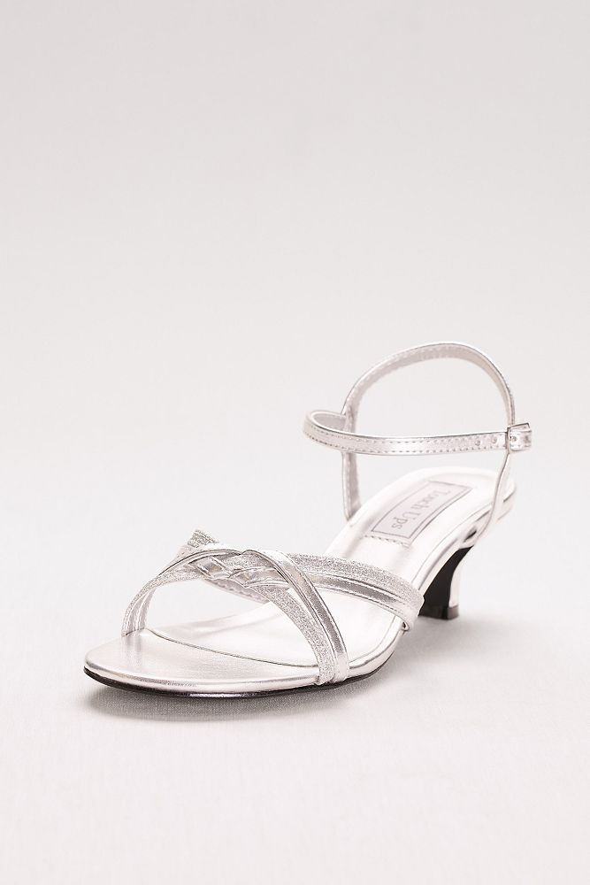Melanie Metallic Low Heel Quarter Strap Sandals Style 896