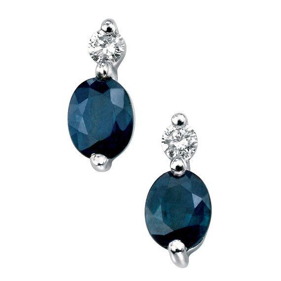 Diamond And Sapphire White Gold Earrings, Bridal Earrings