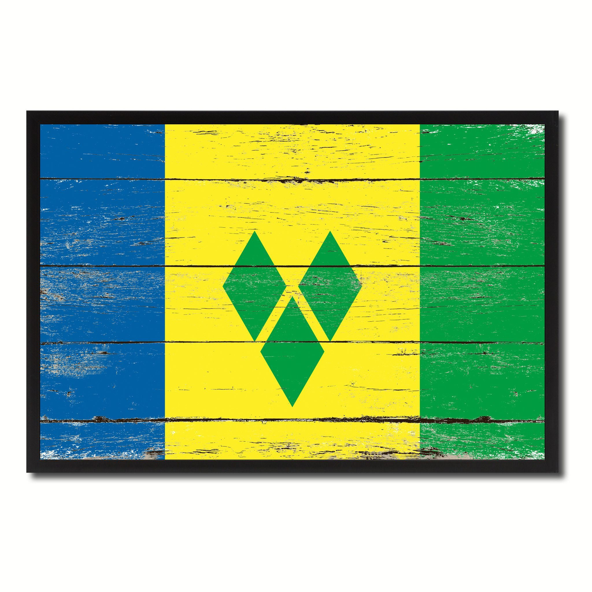 Saint Vincent And The Grenadines Country National Flag Vintage Canvas Print With Picture F Vintage Canvas Custom Picture Frame Saint Vincent And The Grenadines