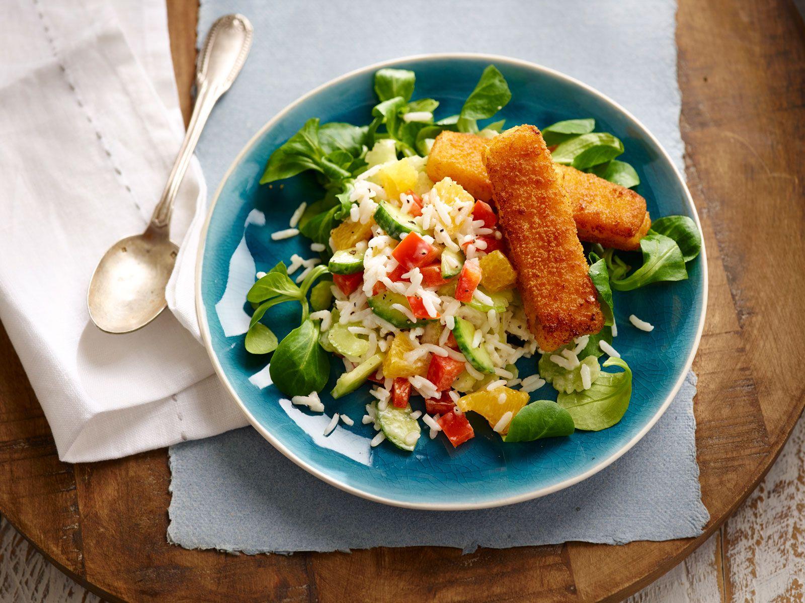 Salade de riz colorée aux fishsticks. #salade #riz #coloree #fishsticks #poisson #bosto #inspiration