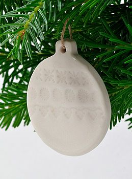 White Porcelain Bauble Decoration by JO HECKETT
