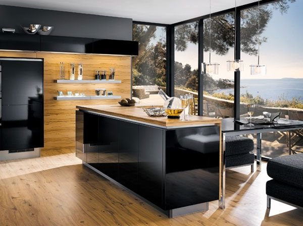 Amazing Wood And Black Kitchen Room With Breathtaking View Entrancing Modern Kitchen Island Design Decorating Inspiration