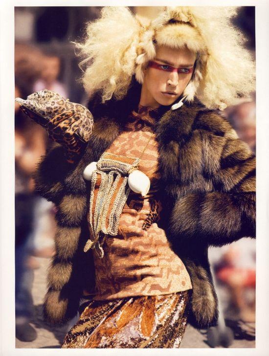 Raquel Zimmerman in 'Fur Play' for Vogue Paris