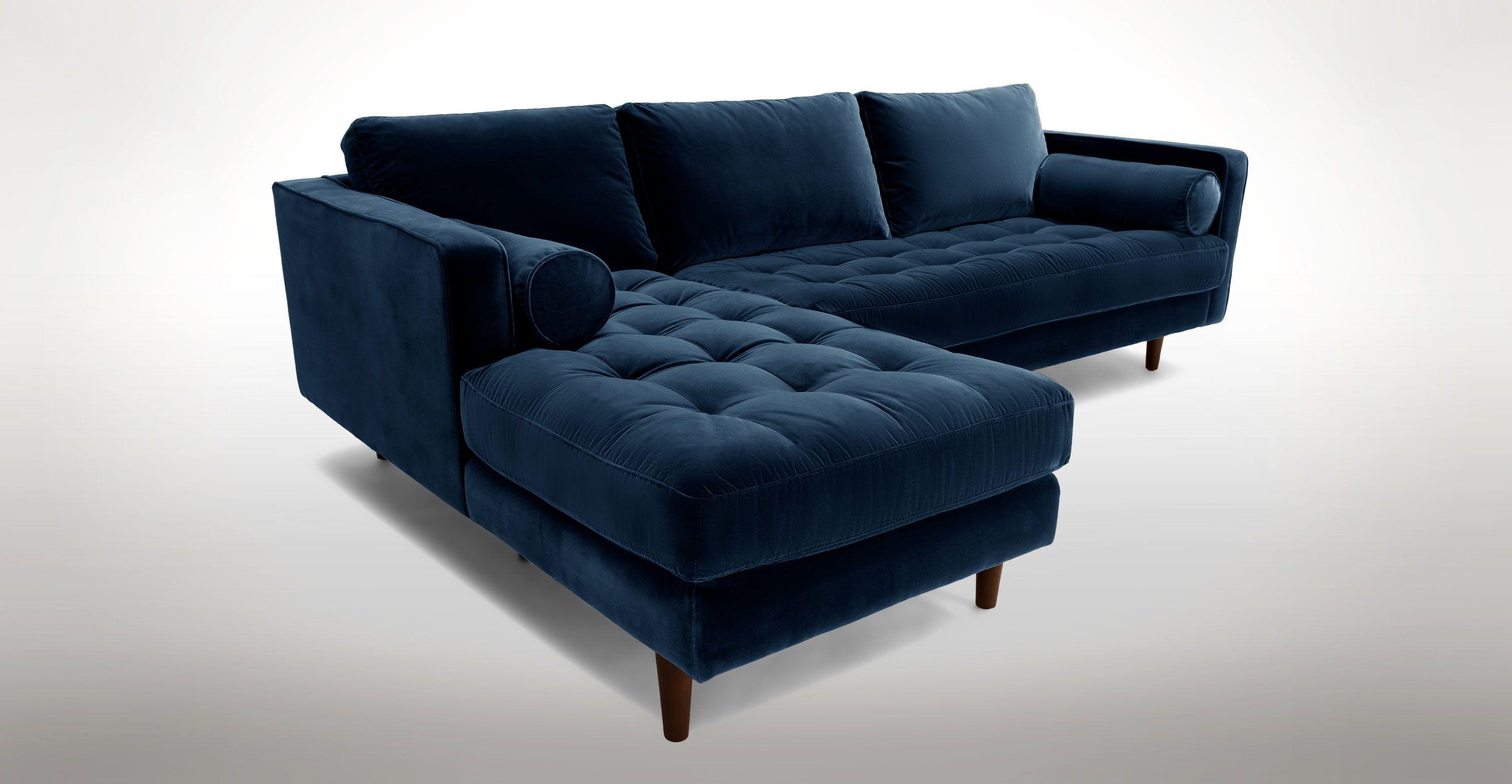 Sven Cascadia Blue Left Sectional Sofa Contemporary Living Room
