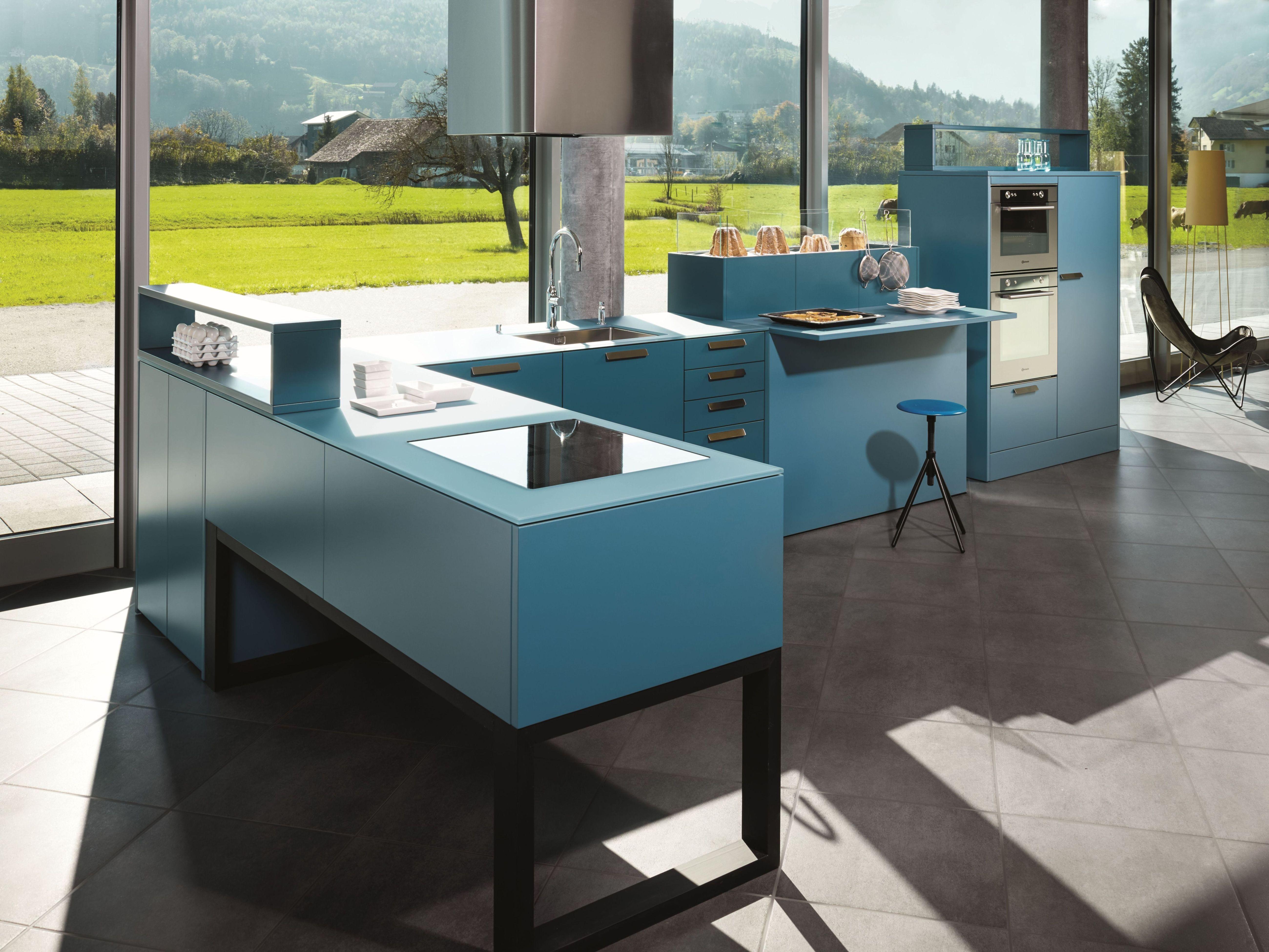 Kh Kuche Pulverlack Blau Kh Kitchen Powdercoated Blue Moderne