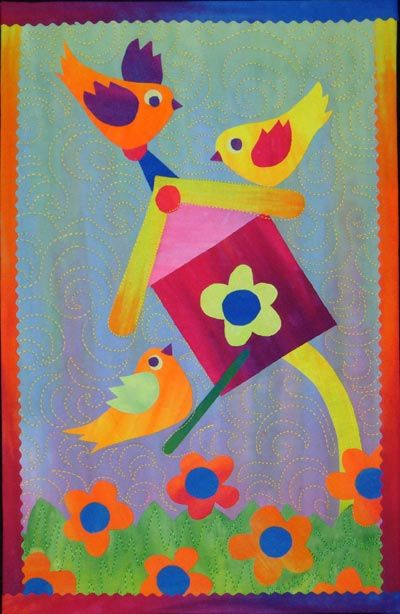"""""""Noisy Sparrows"""": Fused Art Quilt  by pattern designer Laura Wasilowski    Complete pattern and instructions to complete this 9"""" x 14"""" fused art quilt.   This is a pattern only, not a finished product."""