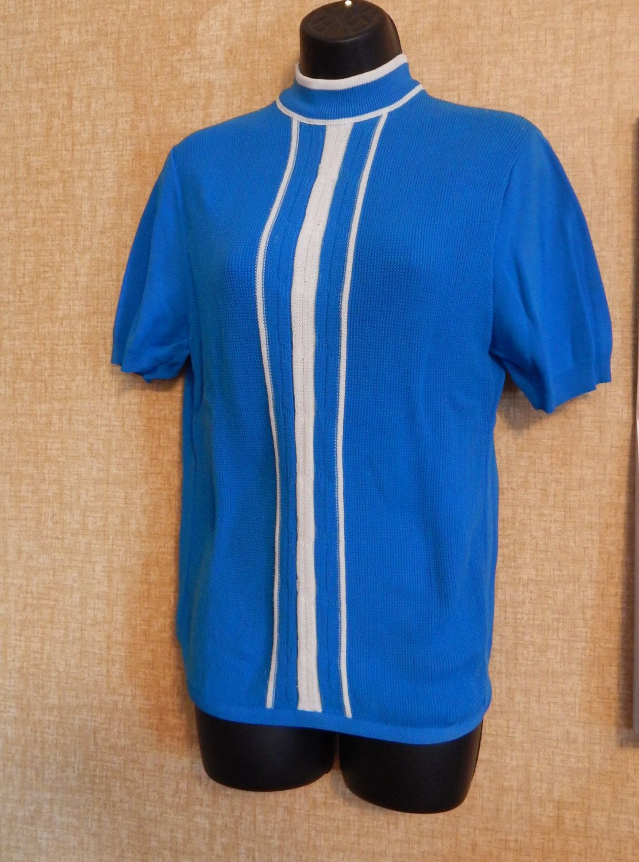 e98bd4b5c6f6 Vintage Sweater Mens Ban Lon Sweater Mid Century Fashion Golf Sweater Mock  Turtleneck Short Sleeves Sea Blue   White Banlon Dupont Jaclee by  OffbeatAvenue ...