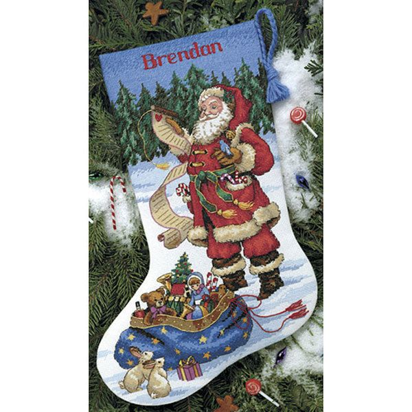 Dimensions checking his list counted cross stitch stocking kit white add a personal touch to your holiday season with this do it yourself santa solutioingenieria Images