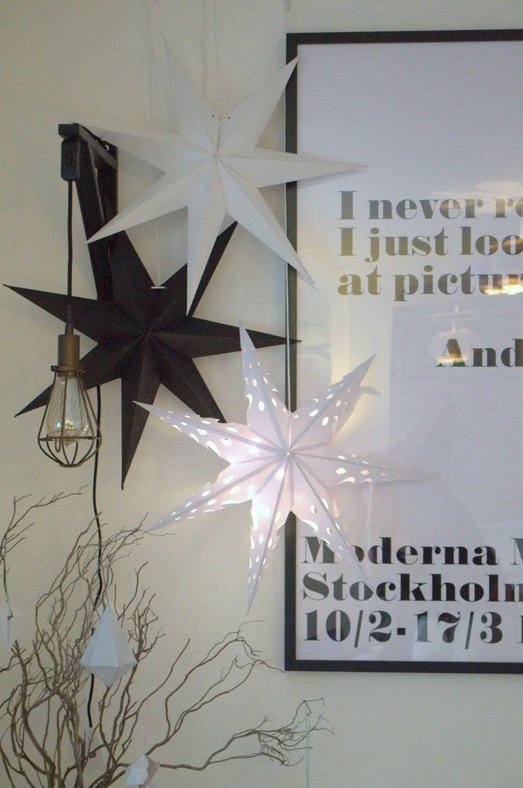 papiersterne in schwarz wei und leuchtend weihnachten weihnachtsstern basteln. Black Bedroom Furniture Sets. Home Design Ideas