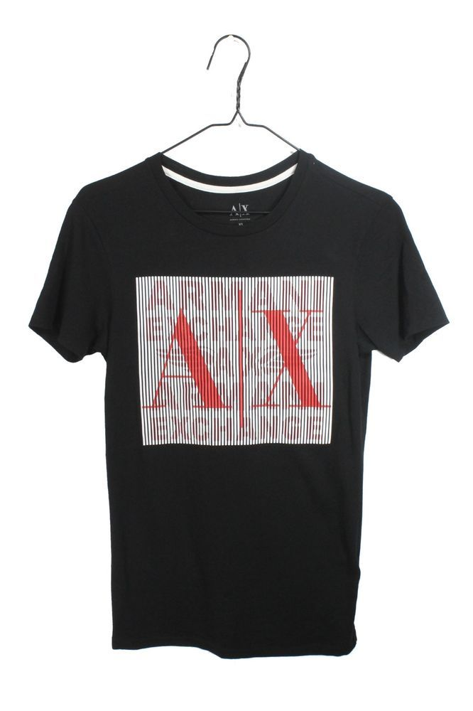 Armani Exchange Mens AX Geometric BLACK Short Sleeve T-Shirt Muscle SZ:XS #Armani #GraphicTee