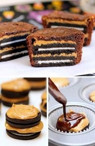 Oreo peanut butter brownie cups - I've had these and they are over the top good