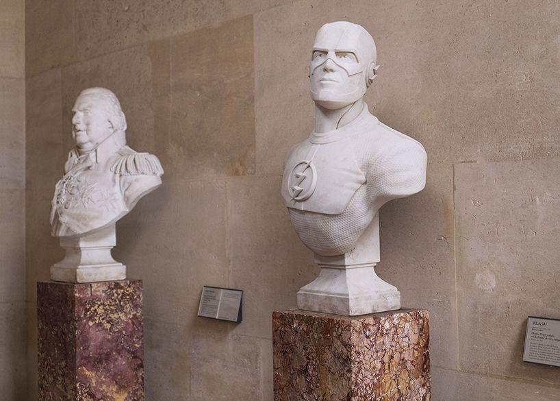 stone super heroes: leo caillard immortalizes cult comic book idols