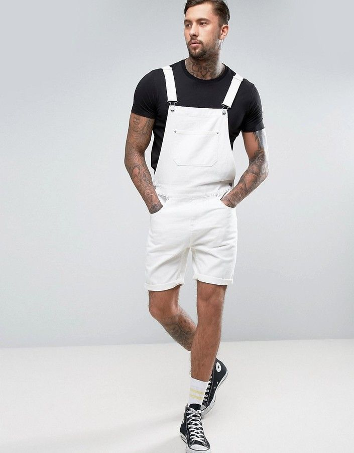 kid latest selection clear and distinctive ASOS Short Denim Overalls In White | Shorts for Men in 2019 ...