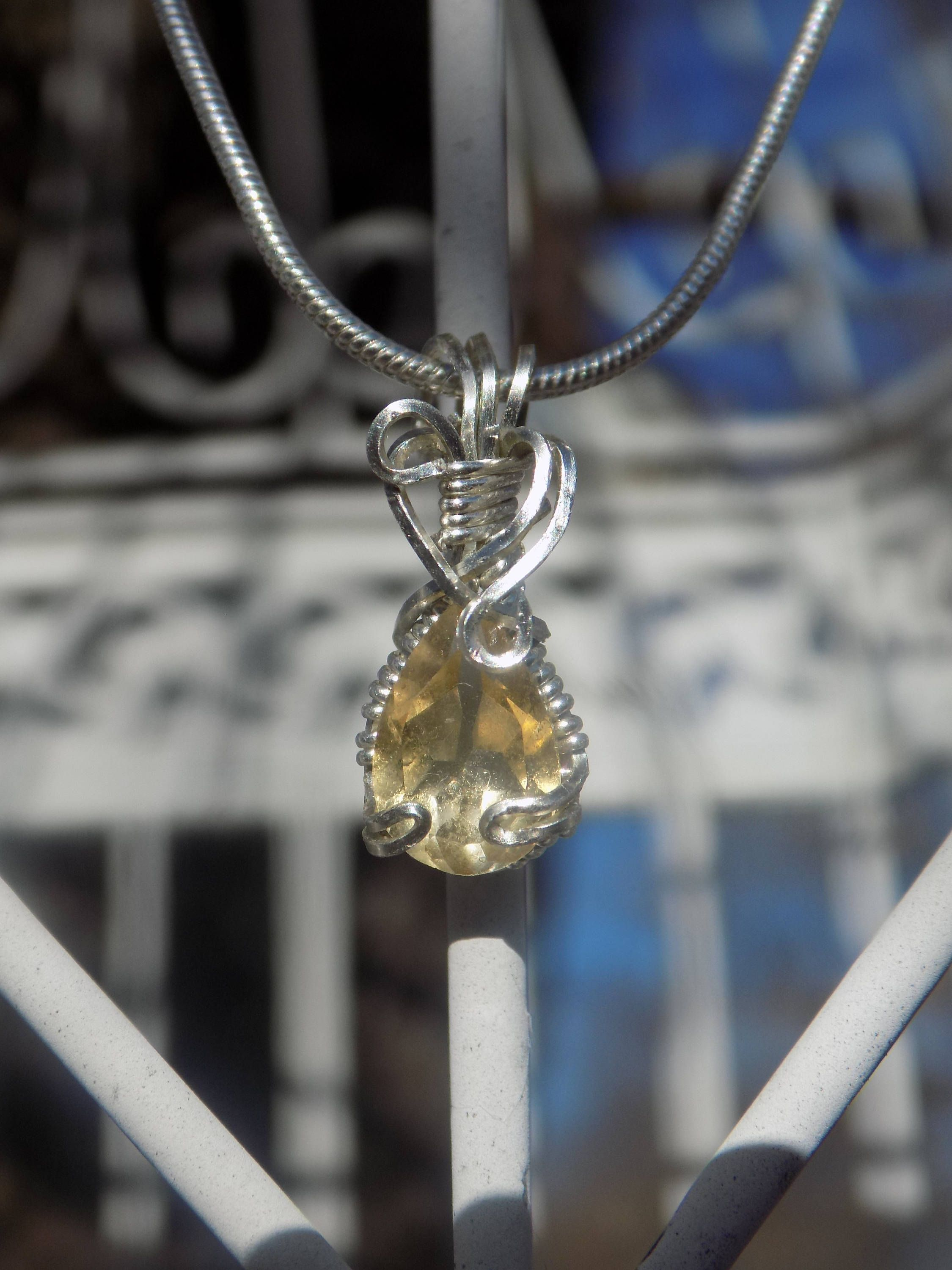 Faceted Citrine November Birthstone Wire Wrapped Gemstone Necklace ...