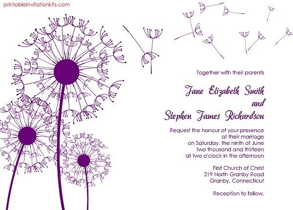 Dandelion Wedding Invitation Dandelions Free printable wedding