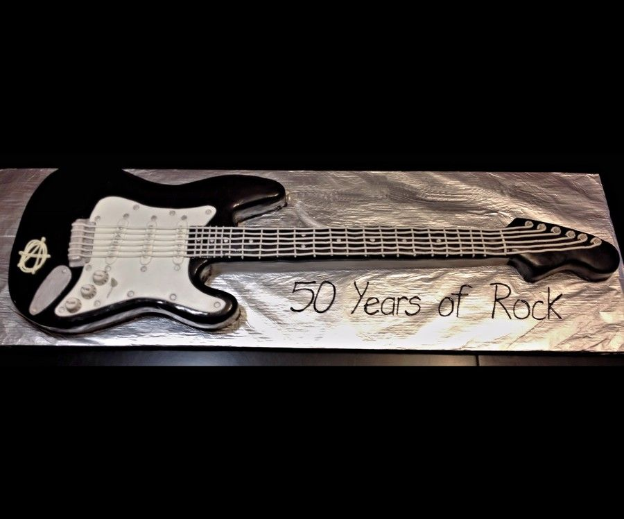 Electric Fendar Guitar Birthday Cake Sculpted Red Velvet Cake Covered In High Glossed Black Fondant Additional Fondant Accessories Added W