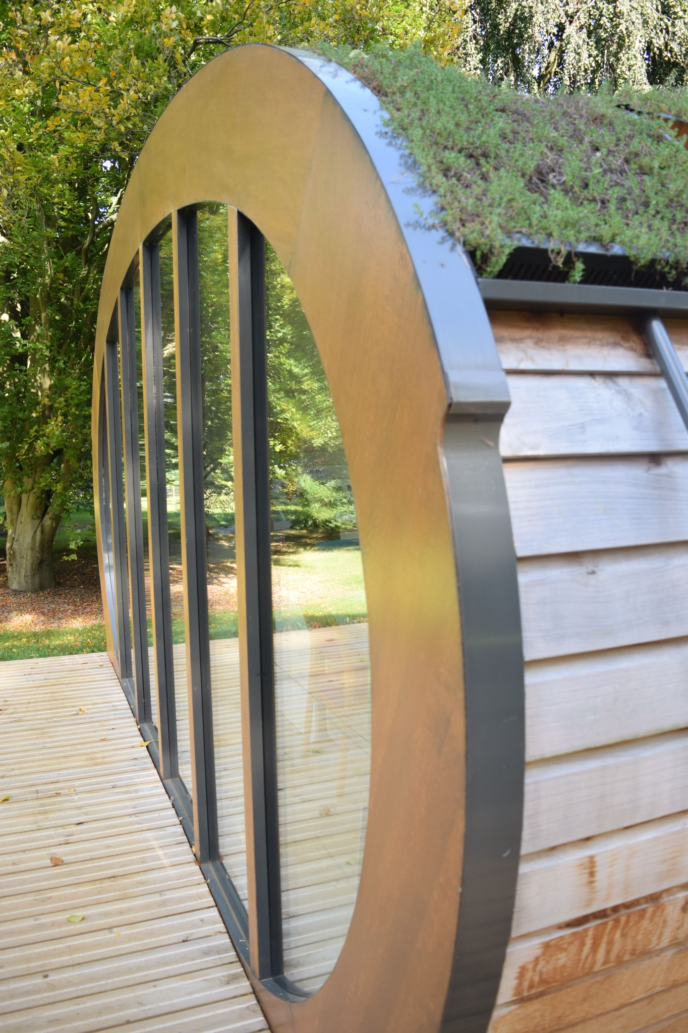 Love this pod with natural roof and reflections at Harcourt Arboretum