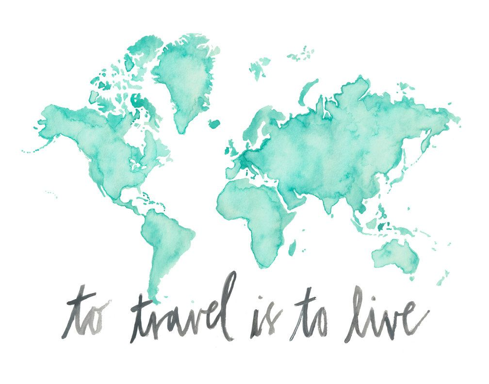 5x7 or 85x11 to travel is to live watercolor map print 5x7 85x11 or 11x14 to travel world map print gumiabroncs Image collections