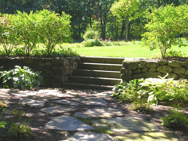 Large Stone Patio, Smaller Stone Retaining Walls And Safe, Straight Steps  Come Together With Perfect Plantings To Look Like Theyu0027ve Co Existed For U2026