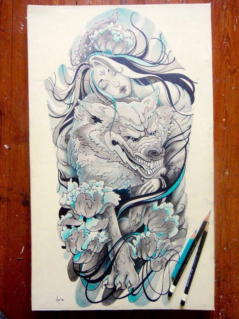 My Woman And Wolf Tattoo Drawing Fantasy Tattoos Wolf Tattoo Design Wolf Tattoos